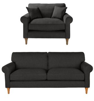 An Image of Habitat William Fabric Chair & 3 Seater Sofa - Charcoal
