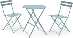An Image of 2 Seat Garden Folding Bistro Set, Sage Green