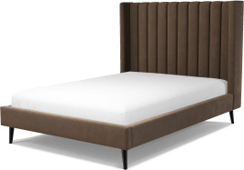 An Image of Cory Double Bed, Mushroom Taupe Cotton Velvet with Black Stained Oak Legs