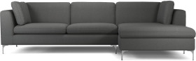 An Image of Monterosso Right Hand Facing Chaise End Sofa, Elite Grey with Chrome Leg