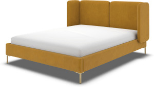 An Image of Ricola Double Bed, Dijon Yellow Cotton Velvet with Brass Legs