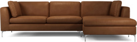 An Image of Monterosso Right Hand Facing Chaise End Sofa, Denver Tan Leather with Chrome Leg