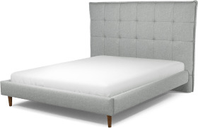 An Image of Lamas King Size Bed, Wolf Grey Wool with Walnut Stained Oak Legs