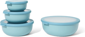 An Image of Mepal Set of 4 Shallow Lidded Storage Bowls, Nordic Green