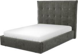 An Image of Lamas Double Ottoman Storage Bed, Steel Grey Velvet