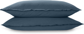 An Image of Sena Organic Cotton Pair of Pillowcases, Indigo Blue