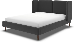 An Image of Ricola Double Bed, Ashen Grey Cotton Velvet with Walnut Stained Oak Legs