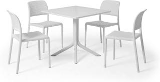 An Image of Nardi 4 Seat Dining Set, White Fibreglass & Resin