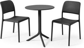 An Image of Nardi 2 Seat Bistro Set, Dark Grey Fibreglass & Resin