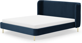 An Image of Ilana Double Bed, Sapphire Blue Velvet