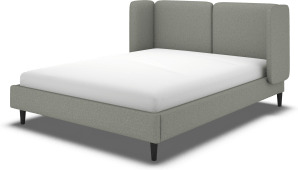 An Image of Ricola Super King Size Bed, Wolf Grey Wool with Black Stained Oak Legs