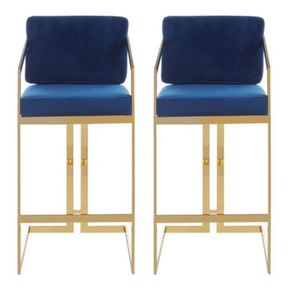 An Image of Azaltro Blue Velvet Bar Stools With Gold Metalframe In Pair