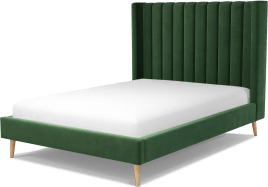 An Image of Cory Double Bed, Lichen Green Cotton Velvet with Oak Legs