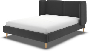 An Image of Ricola King Size Bed, Ashen Grey Cotton Velvet with Oak Legs