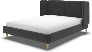 An Image of Ricola Double Bed, Ashen Grey Cotton Velvet with Oak Legs