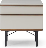 An Image of Vincent Bedside Table, Warm Ecru & Walnut Stain