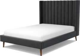 An Image of Cory Double Bed, Ashen Grey Cotton Velvet with Walnut Stained Oak Legs