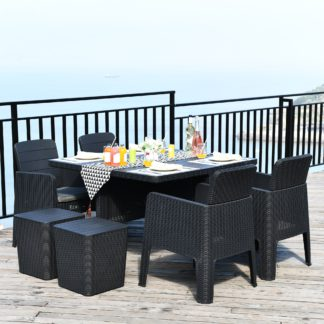 An Image of Faro 4 Seater Black Cube Dining Set Black