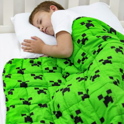 An Image of Minecraft Creeper Weighted Blanket - Green