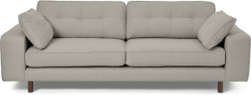 An Image of Content by Terence Conran Tobias 3 Seater Sofa, Dove Grey Boucle with Dark Wood Leg