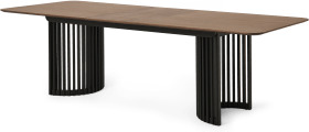 An Image of Zaragoza 6-10 Seat Extending Dining Table, Walnut & Charcoal Black