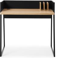 An Image of Arren Compact Desk, Oak & Black Steel