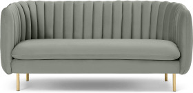 An Image of Helma 2 Seater Sofa, Sage Green Velvet