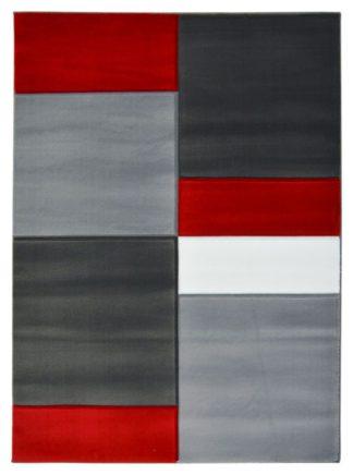 An Image of Homemaker Daytona Blocks Rug - 80x150cm - Red