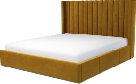 An Image of Cory Super King Size Bed with Storage Drawers, Dijon Yellow Cotton Velvet
