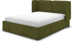 An Image of Ricola Double Bed with Storage Drawers, Nocellara Green Velvet