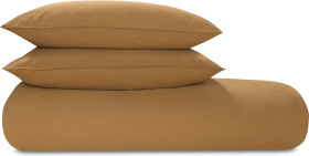 An Image of Alexia Stonewashed Cotton Duvet Cover + 2 Pillowcases, Double, Tobacco