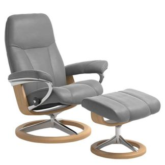 An Image of Stressless Consul Medium Signature Chair and Stool Batick Wild Dove A