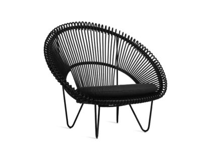 An Image of Vincent Sheppard Roy Cocoon Black Seat Cushion Donau Anthracite