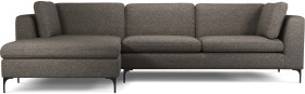 An Image of Monterosso Left Hand Facing Chaise End Sofa, Textured Coin Grey with Black Leg