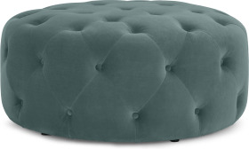 An Image of Hampton Round Pouffe, Large, Marine Green Velvet