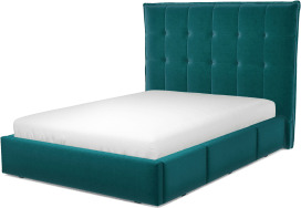 An Image of Lamas Double Bed with Storage Drawers, Tuscan Teal Velvet