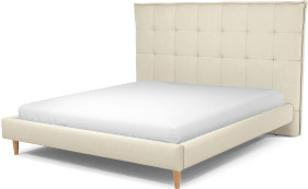 An Image of Lamas Super King Size Bed, Putty Cotton with Oak Legs