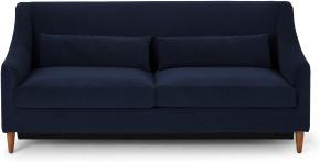 An Image of Herton 3 Seater Sofa Bed, Ink Blue Velvet