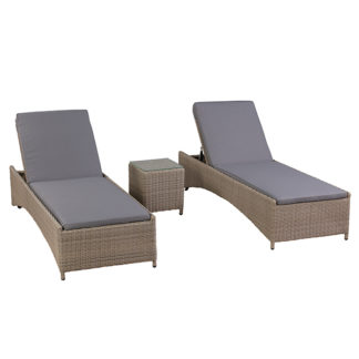 An Image of Andria Garden Sun Lounger Set in Natural Weave and Seal Fabric