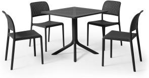 An Image of Nardi 4 Seat Dining Set, Dark Grey Fibreglass & Resin