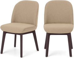 An Image of Erdee Set of 2 Dining Chairs, Soft Beige Weave with Dark Stain Legs