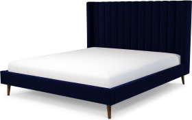 An Image of Cory Super King Size Bed, Prussian Blue Cotton Velvet with Walnut Stained Oak Legs