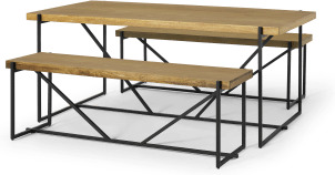 An Image of Morland Dining Table & Bench Set, Light Mango Wood