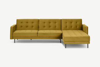 An Image of Rosslyn Right Hand Facing Chaise End Click Clack Sofa Bed, Vintage Gold Velvet