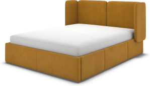 An Image of Ricola Double Bed with Storage Drawers, Dijon Yellow Cotton Velvet