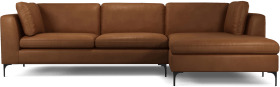 An Image of Monterosso Right Hand Facing Chaise End Sofa, Denver Tan Leather with Black Leg