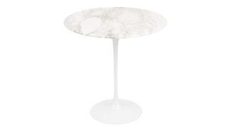 An Image of Knoll Saarinen Tulip Round Side Table Arabescato Marble Medium