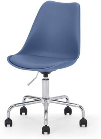 An Image of Deon Office Chair, Royal Blue with Chrome Legs