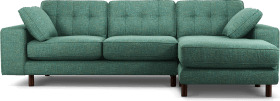 An Image of Content by Terence Conran Tobias, Right Hand facing Chaise End Sofa, Textured Weave Teal, Dark Wood Leg