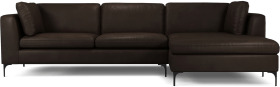 An Image of Monterosso Right Hand Facing Chaise End Sofa, Denver Dark Brown Leather with Black Leg